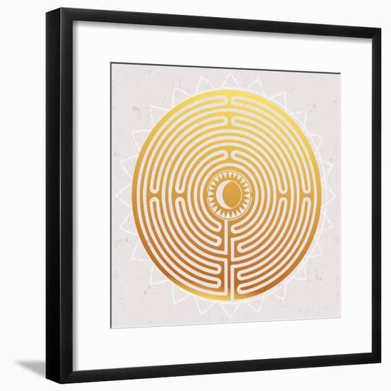 Hand Drawn Maze Labyrinth with Sun in It.-Katja Gerasimova-Framed Premium Giclee Print