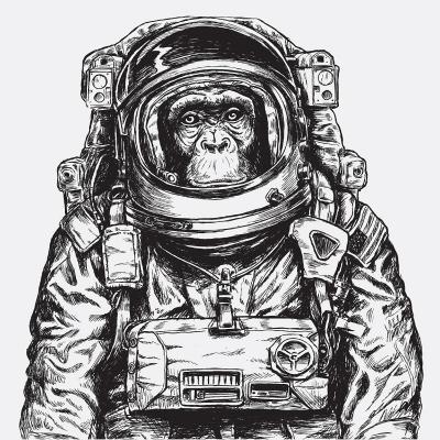 Hand Drawn Monkey Astronaut Vector-Tairy Greene-Art Print