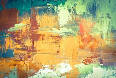 Hand Drawn Oil Painting. Abstract Art Background. Oil Painting on Canvas. Color Texture. Fragment O-Sweet Art-Art Print