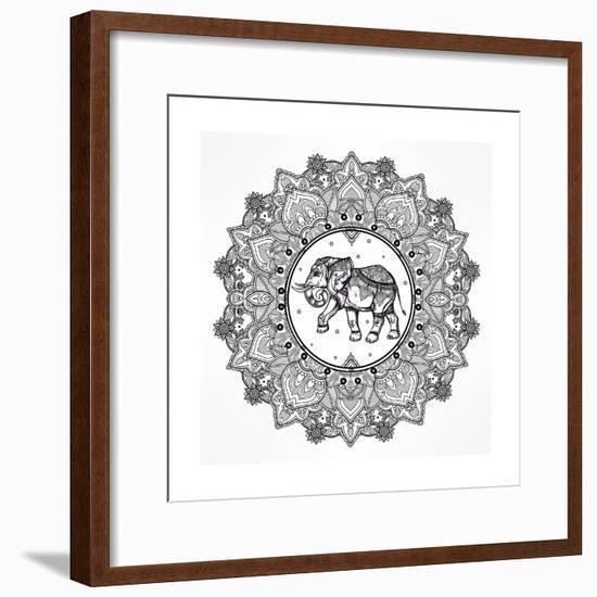 Hand Drawn Ornate Paisley Mandala with Elephant Inside. Ideal Ethnic Background, Tattoo Art, Yoga,-Katja Gerasimova-Framed Premium Giclee Print