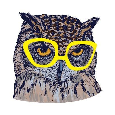 Hand Drawn Owl Face with Yellow Glasses, Isolated on White, Vector Illustration- Melek8-Art Print