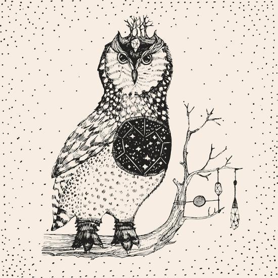 Hand Drawn Owl Illustration-Tasiania-Premium Giclee Print