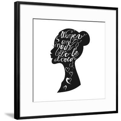 Hand Drawn Romantic Typography Poster. Lovely Quote Women are Ma-panki-Framed Art Print