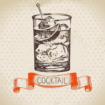 Hand Drawn Sketch Cocktail Vintage Background. Vector Illustration- Pim-Art Print