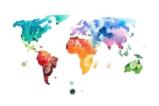 Hand Drawn Watercolor World Map Aquarelle Illustration. Art Print by ...