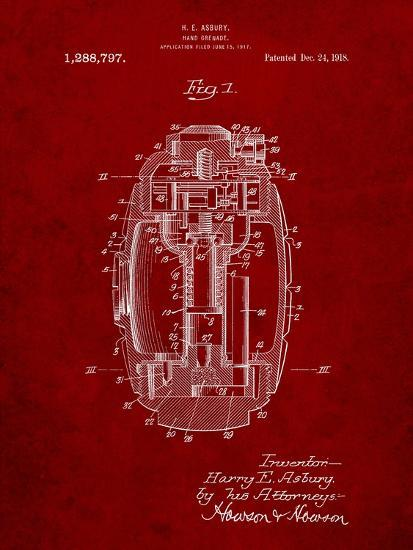 Hand Grenade World War 1 Patent-Cole Borders-Art Print