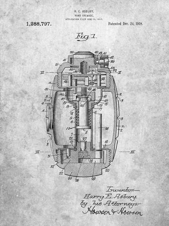 Hand Grenade World War 1 Patent-Cole Borders-Art Print