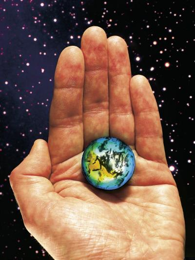 Hand Holding the World-Terry Why-Photographic Print