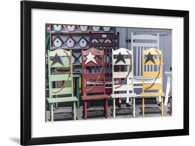 Hand Made Wooden Chairs for Sale in a Gift Shop in Intercourse, Pennsylvania-Richard Nowitz-Framed Photographic Print