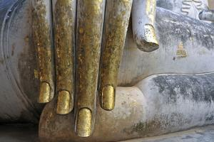 Hand of a Buddha Statue, Fingers with Gold Leaf, Wat Si Chum, Historical Park of Sukhothai,?