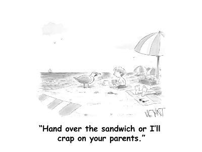 """""""Hand over the sandwich or I'll crap on your parents."""" - Cartoon-Christopher Weyant-Premium Giclee Print"""