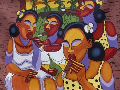 Hand-Painted Canvas at Craft Market in Front of Monastery of San Carlo in Havana, Cuba--Giclee Print