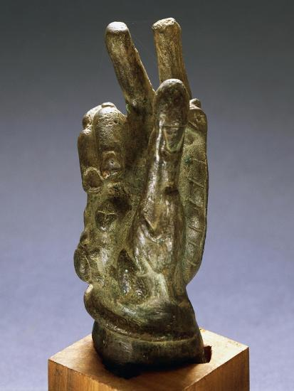 Hand-Shaped Bronze Amulet with Apotropaic Symbols--Giclee Print