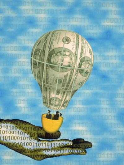 Hand with Financial Hot Air Balloon and Binary Code-Carol & Mike Werner-Photographic Print