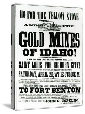 Handbill Advertising Steamer Voyages to the Gold Mines of Idaho, 1865