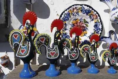 Handicrafts on Sale, Majolica Roosters, Symbol of Portugal, Obidos, Portugal--Giclee Print