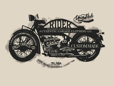 Handmade Font Motorcycle Race with Typography Watercolor-yusuf doganay-Art Print