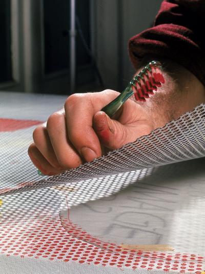 Hands of Pop Artist Roy Lichtenstein at Work in His Studio-John Loengard-Premium Photographic Print