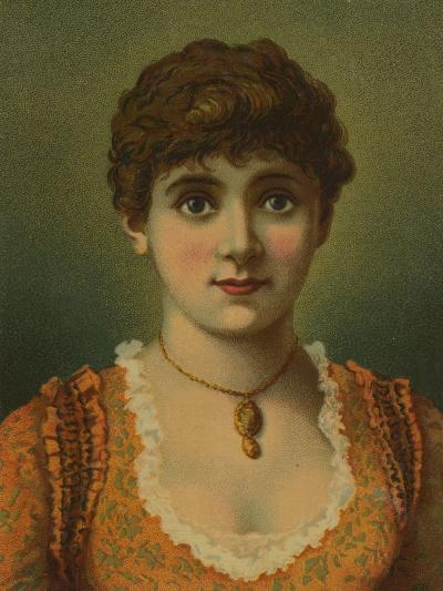 Handsome Woman, Wearing Pendant, with Large Blue Eyes--Giclee Print