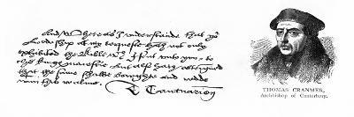 Handwriting and Signature of Archbishop Cranmer from a Letter to Thomas Cromwell, Thanking Him…--Giclee Print