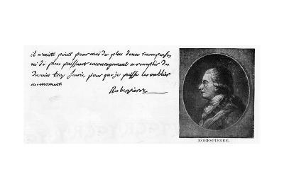 Handwriting and Signature of Robespierre--Giclee Print