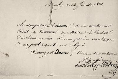 Handwritten Letter by Louis Philippe D'Orleans in Relation to His Mother's Will--Giclee Print