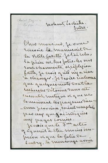 Handwritten Letter from George Sand--Giclee Print
