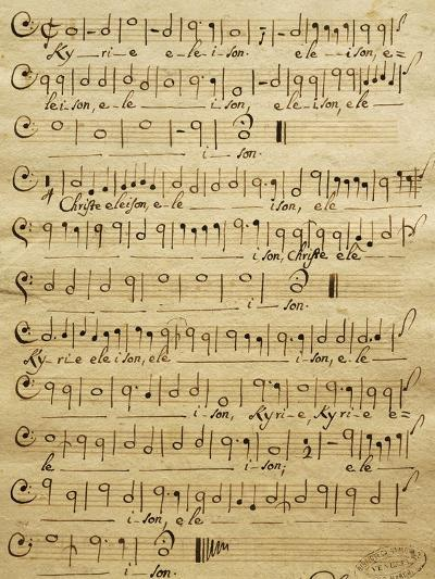 Handwritten Score for Bass of Mass for Three Voices-Tomaso Albinoni-Giclee Print