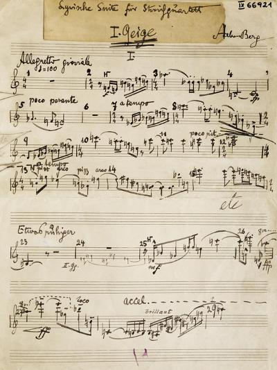 Handwritten Score of Lyric Suite by Alban Berg--Giclee Print