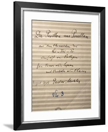 Handwritten Title Page of Score for Der Pavilion Aus Porzellan--Framed Giclee Print