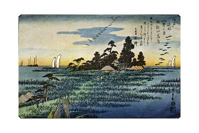 Haneda No Rakugan (Geese Flying Home at Haneda), 1830S-Ando Hiroshige-Giclee Print