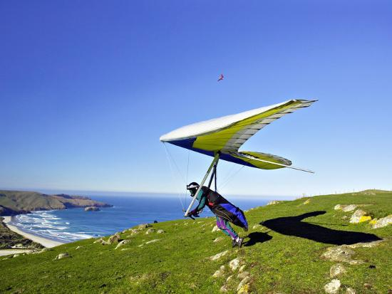 Hang Glider, Otago Peninsula, near Dunedin, South Island, New Zealand-David Wall-Photographic Print