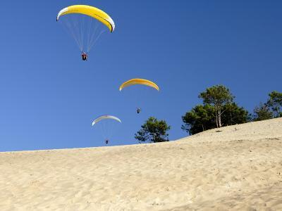 Hang Gliders over Dune Du Pyla, Bay of Arcachon, Cote D'Argent, Gironde, Aquitaine, France, Europe-Groenendijk Peter-Photographic Print
