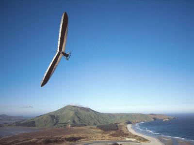 Hang Gliding on Coastline, New Zealand-David Wall-Photographic Print