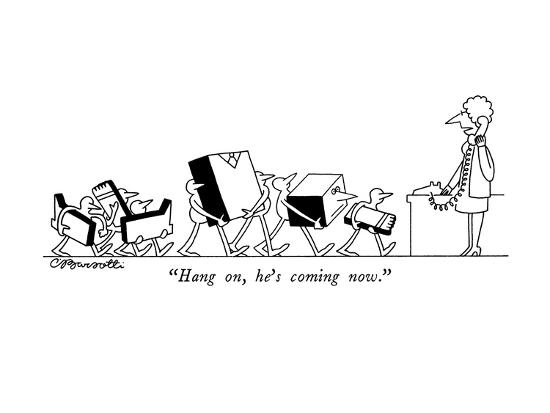"""Hang on, he's coming now."" - New Yorker Cartoon-Charles Barsotti-Premium Giclee Print"