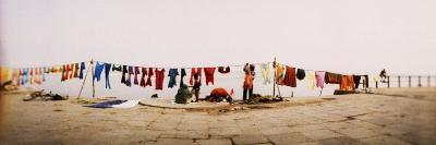 Hanging Clothes Out to Dry after Washing Them in the River, Ganges River, Varanasi, Uttar Pradesh, --Photographic Print