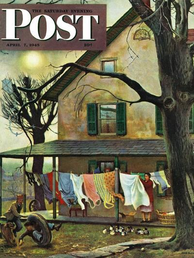 """Hanging Clothes Out to Dry,"" Saturday Evening Post Cover, April 7, 1945-John Falter-Premium Giclee Print"