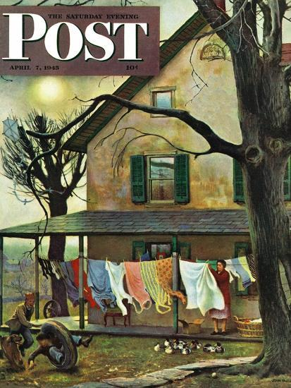"""""""Hanging Clothes Out to Dry,"""" Saturday Evening Post Cover, April 7, 1945-John Falter-Giclee Print"""