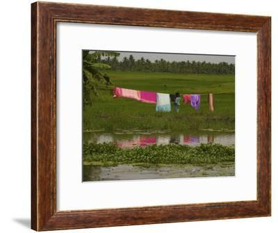 Hanging Laundry Near a River in Kerala-Michael Melford-Framed Photographic Print