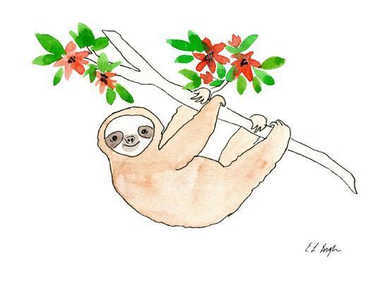Hanging Sloth-Elise Engh-Art Print