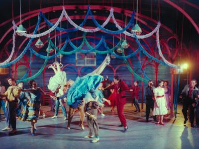 """Actress Carol Lawrence Et Al in Dance Scene from Broadway Musical """"West Side Story"""" by Hank Walker"""