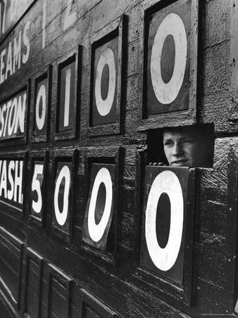 Boy Running Scoreboard at Griffith Stadium During the Baseball Game