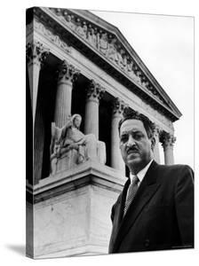 NAACP Chief Counsel Thurgood Marshall in Serious Portrait Outside Supreme Court Building by Hank Walker