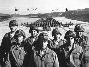 Officers and Men of Marine Corps Test Unit No.1, with Artillery Equipment, Helicopters in Formation by Hank Walker