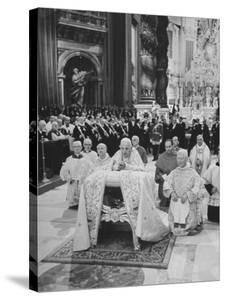 Pope John XXIII, with Bishops Kneeling in Prayer, St. Peter's Basilica, Opening of Vatican II by Hank Walker