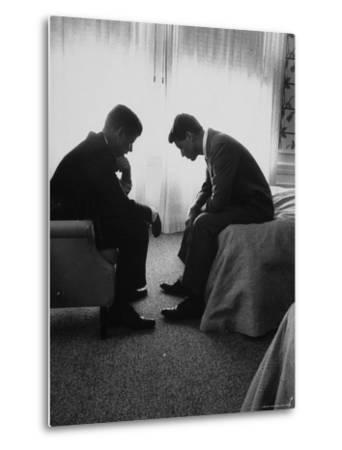 Presidential Candidate John Kennedy Conferring with Brother and Campaign Organizer Bobby Kennedy