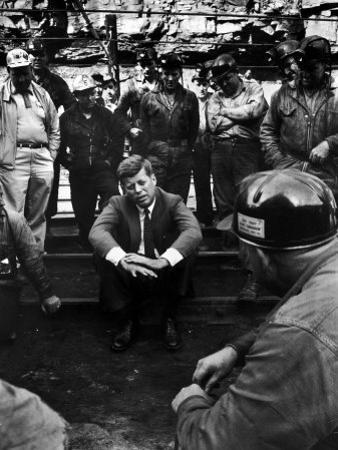 Presidential Candidate, Sen. John Kennedy Chatting with Miners, Campaigning During Primaries