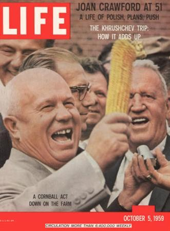 Russian Premier Nikita Khrushchev Holding Up Ear of Corn During Tour of US, October 5, 1959