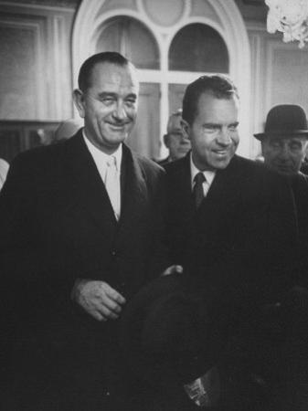 Sen. Lyndon B. Johnson Posing with Vice-President Richard M. Nixon by Hank Walker