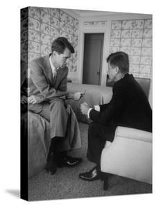 Senator John F. Kennedy and Brother Robert F. Kennedy Conferring in Hotel Suite During Convention by Hank Walker